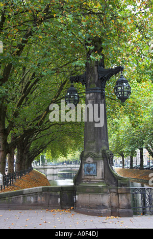Dusseldorf Canal and Memorial Statue at Konigsallee Germany - Stock Image