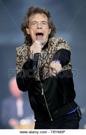 File photo dated 09/06/18 of Mick Jagger, who appears to be back to full health while dancing around in a studio just weeks after undergoing heart surgery. - Stock Image