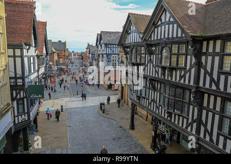 Shoppers on Eastgate Street in Chester, the County town of Cheshire, England, UK - Stock Image