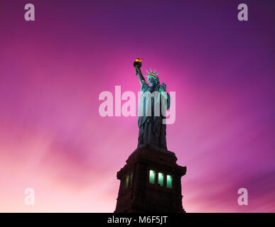 Statue of Liberty at dusk,Liberty Island, New York, USA - Stock Image
