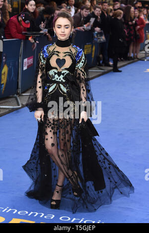 London, UK. 24th Apr, 2019. LONDON, UK. April 24, 2019: Lily Collins arriving for the 'Extremely Wicked, Shockingly Evil And Vile' premiere at the Curzon Mayfair, London. Picture: Steve Vas/Featureflash Credit: Paul Smith/Alamy Live News - Stock Image