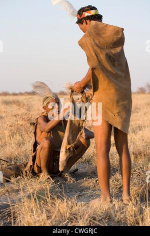 bushmen bushman tribe Africa Botswana Kalahari man - Stock Image