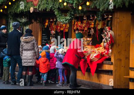Christmas Market at Rathausplatz square at the town hall or Rathaus, Vienna, Austria. - Stock Image