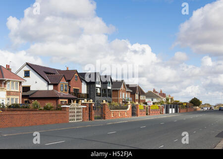 Houses on Clifton Drive, the main seafront road at Lytham St Annes, Lancashire. - Stock Image