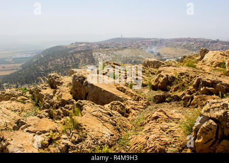 5 May 2018 A view of modern Nazareth in Israel from the mount Precipice. tradition has this as the place where an angry mob would have cast Jesus Chri - Stock Image