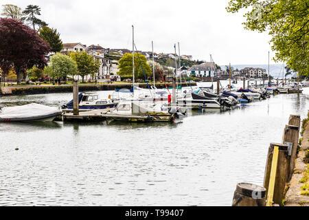 Kingsbridge Estuary, ria, Kingsbridge Estuary, Kingsbridge marina, Kingsbridge Devon UK, Kingsbridge town Devon, Kingsbridge boats, inlet, town, towns - Stock Image