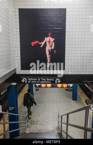 New York, USA. 121 April, 2018. Images of David Bowie at thee Broadway-Lafayette subway station.  The installation, sponsorsed  by Spotify, is being held in conjunction with the exhibition 'David Bowie IS' at the Brooklyn. The subway installation is just blocks from where the late rock star lived in Soho. The art will be on display until mid May. ©Stacy Walsh Rosenstock - Stock Image