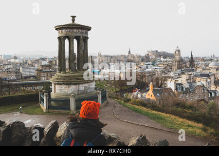 EDINBURGH, SCOTLAND - FEBRUARY 9, 2019 - Calton Hill is at the bottom of Princes Street. The views from the summit of Calton Hill are stunning - Stock Image