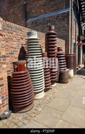 Ceramic Insulators outside Gladstone Pottery Museum Longton Stoke on Trent Staffordshire England UK - Stock Image