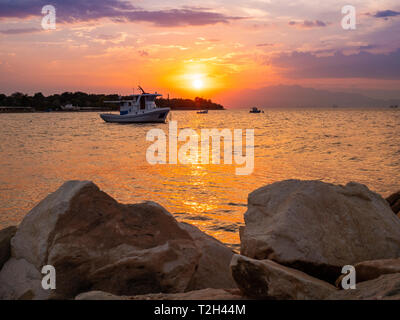 Thasos Island sunset landscape in the middle of the season - Stock Image