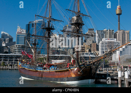 Replica of Captain J.Cook's HMB Endeavor moored in Darling Harbour Sydney Australia - Stock Image