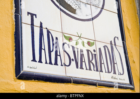 Tapas Bar Sign, Seville, Spain - Stock Image