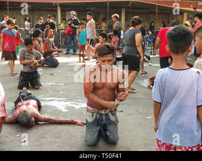 Navotas City, Philippines. 4th Jan, 2012. A flagellate seen full of drops of his own blood during Good Friday. Credit: Josefiel Rivera/SOPA Images/ZUMA Wire/Alamy Live News - Stock Image