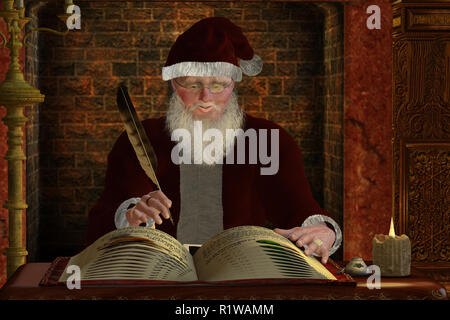 Santa Claus - Santa Claus writes in his gift list for the coming winter holiday Christmas season. - Stock Image