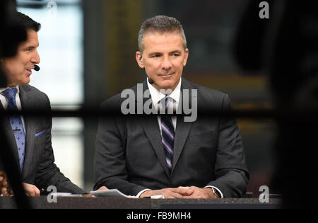 Glendale, AZ, USA. 11th Jan, 2016. Urban Meyer working for ESPN during the 2016 College Football Playoff National - Stock Image