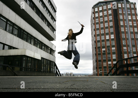 General View of a student celebrating at Strathclyde University in Glasgow, Scotland - Stock Image