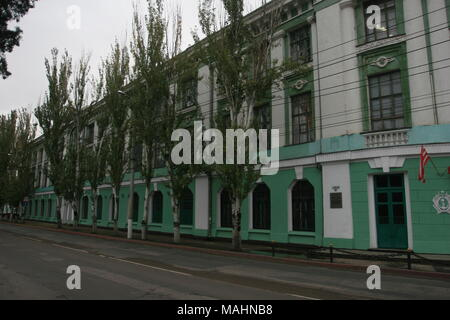Building of Kerchenskiy Sudoremontnyiy Zavod – Ship Repair Factory, part of Ukrainian Ministry of Transport, at Kirova 22 Street, Kerch, Crimea - Stock Image