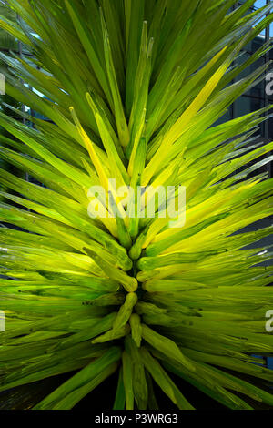 Lime Green Icicle Tower, Dale Chihuly, 2011, interior, Museum of Fine Arts, Boston, Mass, USA, North America - Stock Image