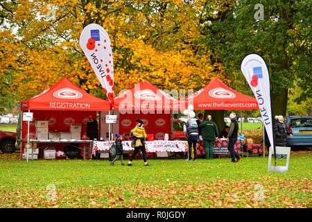 The fixevents.com,Registration marquee,Poppy run,Wollaton Park,Nottingham,England,UK - Stock Image
