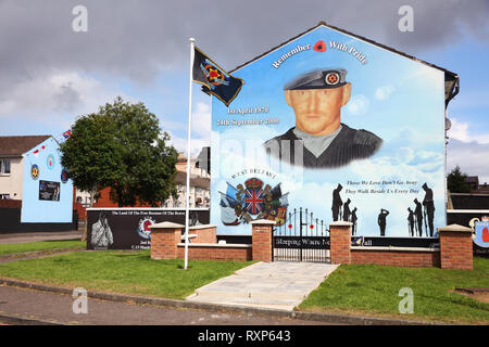 Political mural commemorating Ulster Defence Association commander Stephen McKeag who was responsible for many brutal killings of Catholics and Republicans during 'The Troubles', Hopewell Crescent, Belfast, Northern Ireland - Stock Image