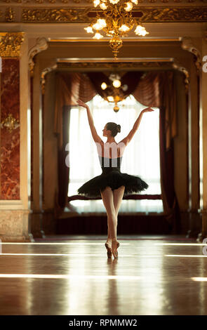 Beautiful ballerina dancing in a luxurious hall with a chandelier in a black dress against the window. Back view. - Stock Image