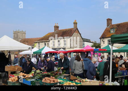 Saturday local market on Wareham Quay, Isle of Purbeck, Dorset, England, Great Britain, United Kingdom, UK, Europe - Stock Image