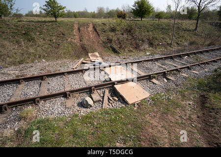 Debris on an old railway track - Stock Image