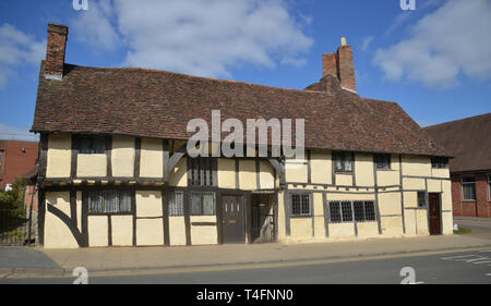 Masons court a 15th century building on Rother Street, Stratford upon Avon, Warwickshire, now a holiday rental property - Stock Image
