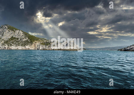 The imposing Church of St. Peter on the rocky peninsula at the entrance to the gulf of Poets at Porto Venere Italy - Stock Image