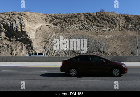folded rock layers from San Andres fault Palmdale Calfornia - Stock Image