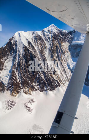 Aerial view of the steep NW face of Mt. Hayes, the tallest mountain in the eastern half of the Alaska Range; Alaska, - Stock Image