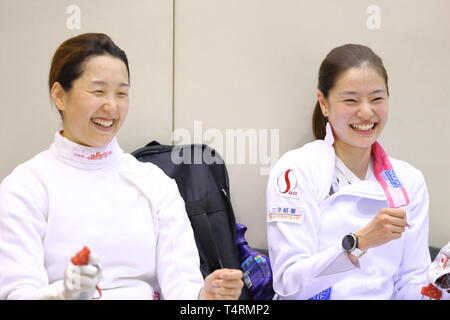 Ajinomoto National Training Center, Tokyo, Japan. 19th Apr, 2019. (L-R) Nozomi Sato, Ayumu Saito (JPN), APRIL 19, 2019 - Fencing : Japan National Team Training Session at Ajinomoto National Training Center, Tokyo, Japan. Credit: Naoki Nishimura/AFLO SPORT/Alamy Live News - Stock Image