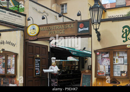 Alehouse and restaurant Malostranska Pivnice in Cihelna ulice, Mala Strana, Prague - Stock Image