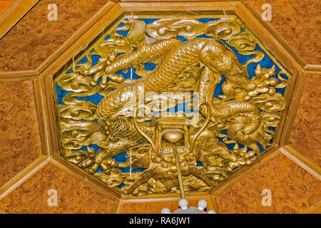 Ceiling With Dragon Motif Ming Tombs Beijing China - Stock Image