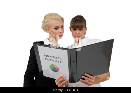 businessladies with financial report on isolated background - Stock Image