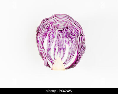 half a red cabbage on a white background - Stock Image