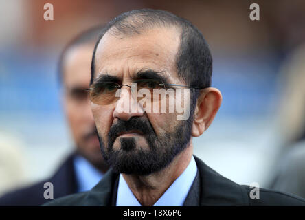 Owner Mohammed bin Rashid Al Maktoum during day one of the QIPCO Guineas Festival at Newmarket Racecourse. - Stock Image