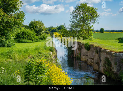 Louth Canal at Alvingham - Stock Image