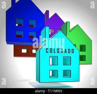 Colorado Real Estate Houses Represent Buying Property In Denver United States. Ownership Renting Or Investment Purchase - 3d Illustration - Stock Image