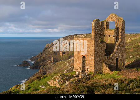 Abandoned tin mines on the Cornish cliffs near Botallack, Cornwall, England. Autumn (November) 2017 - Stock Image