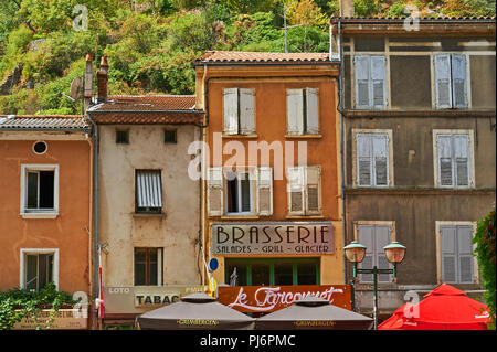 Line of building frontages in the French town of Tournon sur Rhone, Ardeche, Rhone Alps, France - Stock Image