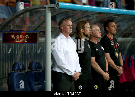 Northern Ireland manager Michael O'Neill (left) and his staff before the UEFA Euro 2020 Qualifying, Group C match at the Borisov Arena. - Stock Image