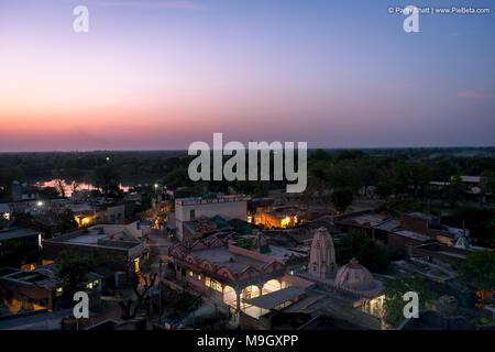 Place-Godhavi, Ahmedabad State Gujarat, India. March-26-2018. Photo of ariel view of Godhavi village near Ahmedabad city - Stock Image