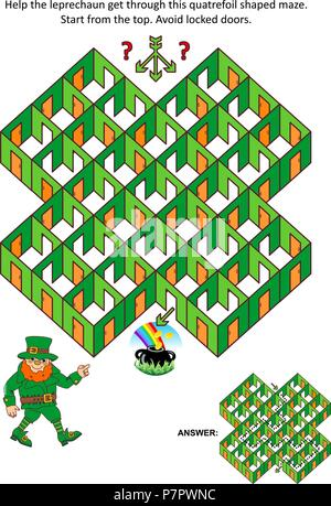 St. Patrick's Day themed rooms and doors maze game or activity page: Help the leprechaun get through the quatrefoil shaped maze. Answer included. - Stock Image