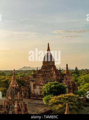 Ancient temple ruins at dawn in old Bagan, Myanmar. - Stock Image