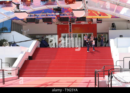 Cannes, France - May 14, 2019: Red Carpet Stairway At Palais Des Festivals Et Des Congres Before Opening Ceremony Of The Cannes Film Festival 2019 In  - Stock Image