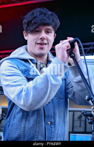 Ryan Lawrie former X Factor contestant entertained crowds at TamFest in the Town Centre of Ayr. - Stock Image