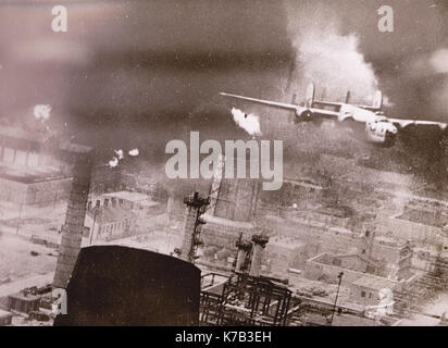 B53 Bombing Mission on Romoanian Oil Refinery 1943 - Stock Image