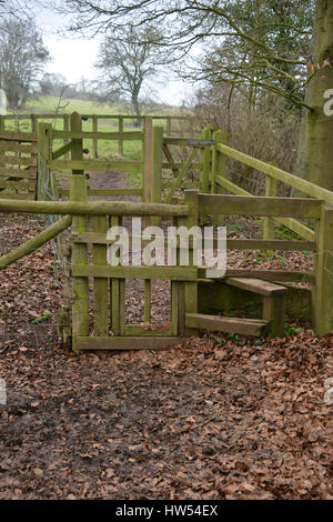 Stile on footpath with dog gate near the north Oxfordshire village of Hook Norton - Stock Image
