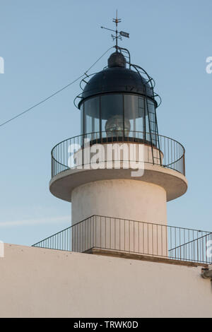 Lighthouse of the Cap de Creus Natural Park, the westernmost point of Spain, where the sun first rises. Cadaques, Catalonia, Spain. - Stock Image